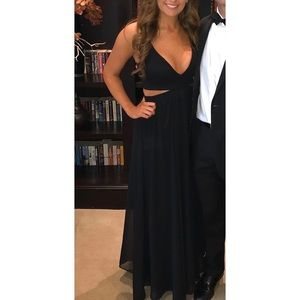 Express cut out black long formal gown